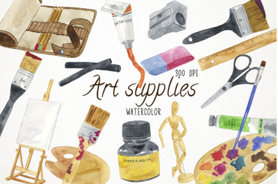 Watercolor Arts Supplies Clipart, Art Supplies Clip Art, School Suppli