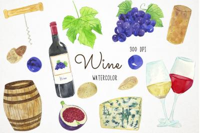 Watercolor Wine Clipart, Wine Clip Art