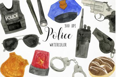 Watercolor Police Clipart, Police Clip Art