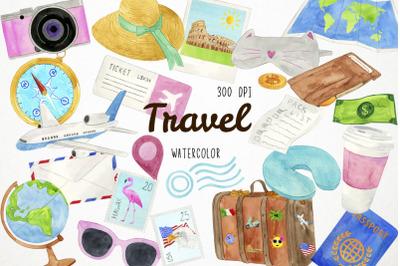 Watercolor Travel Clipart, Travel Clip Art, Wanderlust Clipart