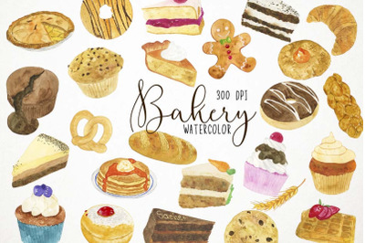 Watercolor Bakery Clipart, Bakery Clip Art, Pastries Clipart