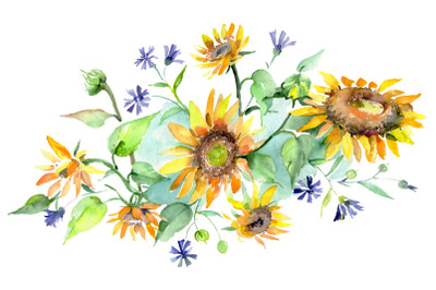 Bouquet yellow aroma of summer watercolor png