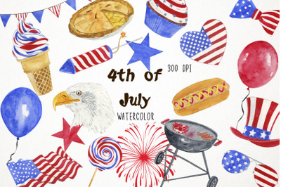 Watercolor 4th of July Clipart, 4th of July Clip Art, Independence Day