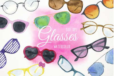 Watercolor Sunglasses Clipart, Glasses Clipart, Glasses Clip Art