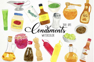 Watercolor Condiments Clipart, Condiments Clip Art