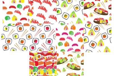 Sushi seamless patterns Japanese food set