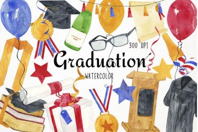Watercolor Graduation Clipart, Graduation Clip Art