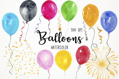 Watercolor Balloons Clipart, Balloons Clip Art
