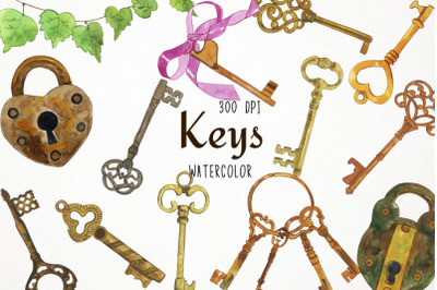 Watercolor Keys Clipart, Keys Clip Art