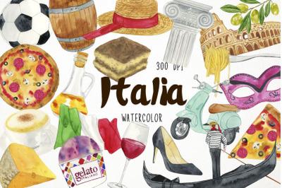 Watercolor Italy Clipart, Italy Clip Art, Italia Clipart
