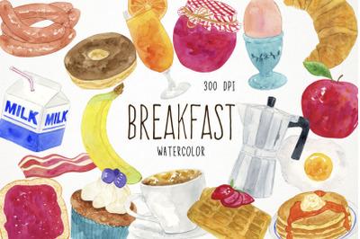 Watercolor Breakfast Clipart, Breakfast Clip Art