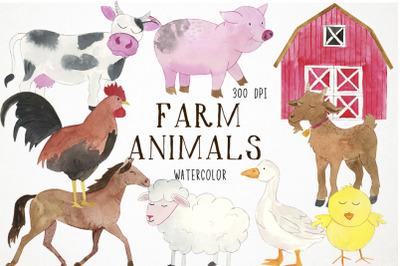 Watercolor Farm Clipart, Farm Animals Clip Art, Farm Clip Art