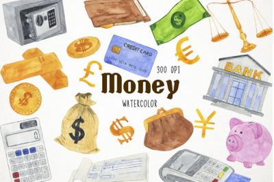 Watercolor Money Clipart, Money Clip Art