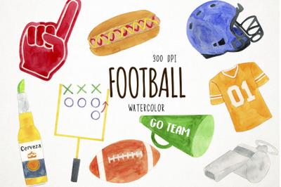 Watercolor Football Clipart, Football Clip Art, Sports Clipart