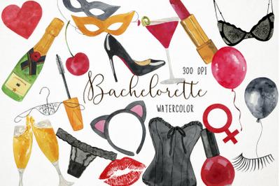 Watercolor Bachelorette Clipart, Bachelorette Clip Art, Bride Clipart,