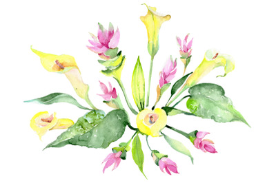 Bouquet glowing heart watercolor png