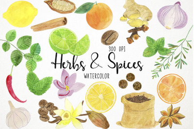 Watercolor Herbs Clipart, Spices Clipart, Herbs & Spices Clipart