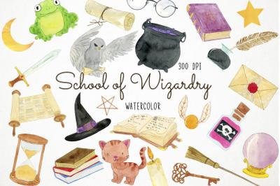 Watercolor Wizard Clipart, Wizard Clip Art, Magic School Clipart