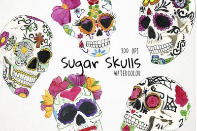 Watercolor Sugar Skulls Clipart, Sugar Skulls Clip Art
