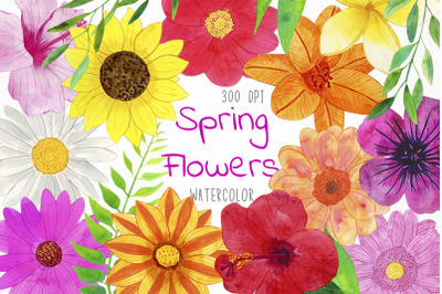 Watercolor Spring Flowers Clipart, Spring Flowers Clip Art