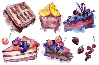 Dessert fruit tale watercolor png