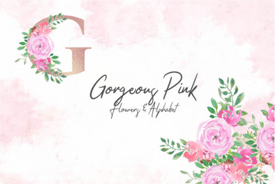 Gorgeous Pink Flowers & Alphabet