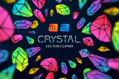 Crystals neon vector clipart, alphabets, patterns, frames