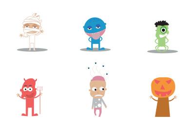 Premium Vector Halloween Characters Icons Set