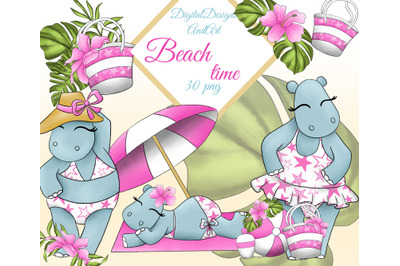 Hippos on the beach clipart