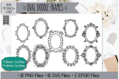18 Oval Doodle Frames Hand Drawn Illustrations Bundle