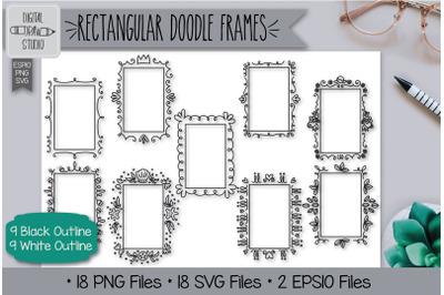 18 Rectangular Doodle Frames Hand Drawn Illustrations Bundle
