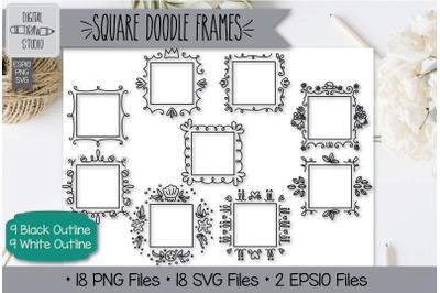 18 Square Doodle Frames Hand Drawn Illustrations Bundle
