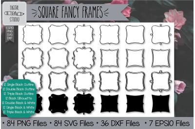 84 Square fancy frames Hand Drawn Illustrations Bundle