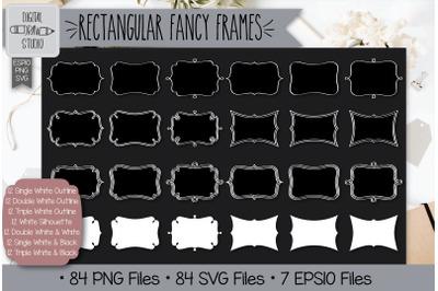 84 White Rectangular fancy frames Hand Drawn Illustrations Bundle