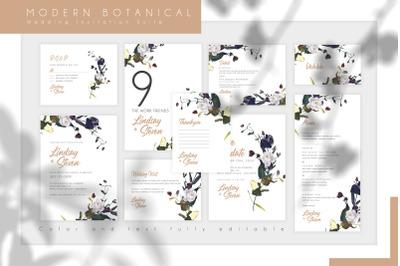 Modern Botanical Wedding Invitation Suite
