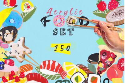Food (sushi, pizza, donuts, fuits, desserts) clipart illustrations set