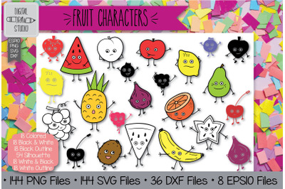 144 Fruit Characters Doodles Hand Drawn Illustrations Bundle