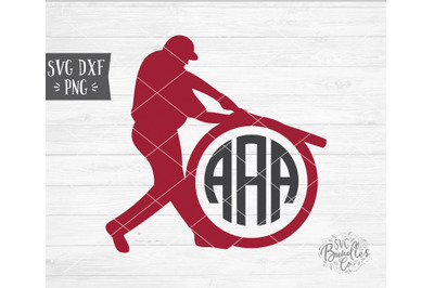 Baseball Player Swinging Monogram SVG DXF PNG