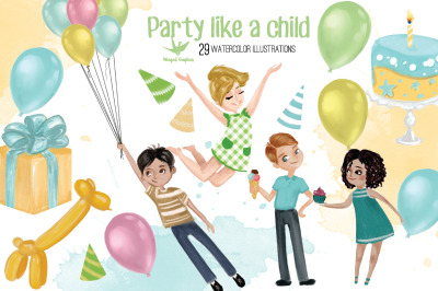 Party like a child : watercolor illustration set of 29
