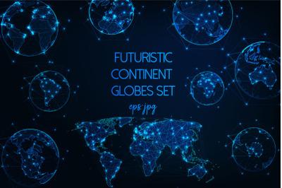 Futuristic continent globes set