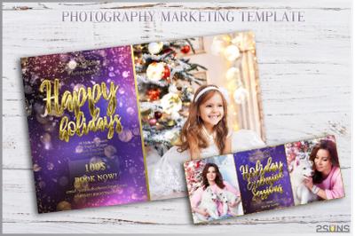 Christmas Mini Session Template Photography Editable Facebook timeline