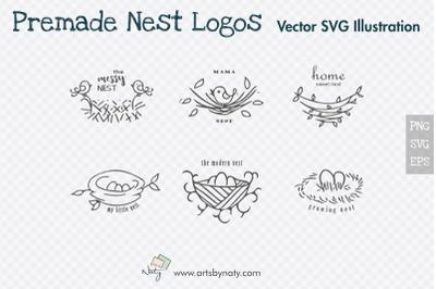Premade Nest Logos SVG Vector Illustrations.