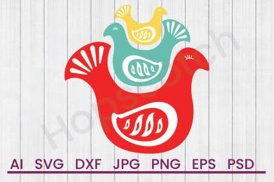 Scandinavian Folk Birds - SVG File, DXF File