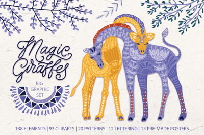 Magic giraffes. Folk art graphic set.