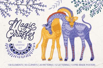 Magic giraffes. Folk art graphic set.