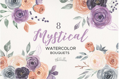 Mystical Watercolor 8 Clipart Bouquets Flowers Berries