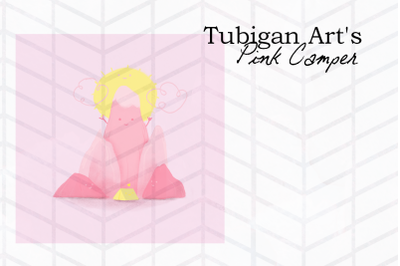 Pink Camp Illustration in pink artsy doodle style