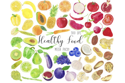 Watercolor Healthy Food Clipart, Healthy Food Clip Art, Fruits Clipart