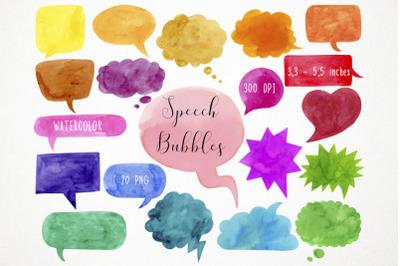 Watercolor Speech Bubbles Clipart, Speech Bubbles Clip Art