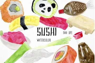Watercolor Sushi Clipart, Sushi Clip Art